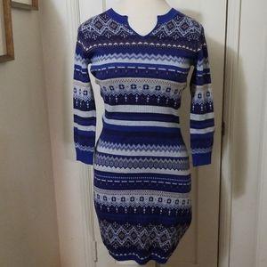 ATHLETA sweater dress blue gray stripe